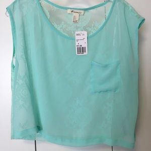 Tops - Mint Lace Sheer Top